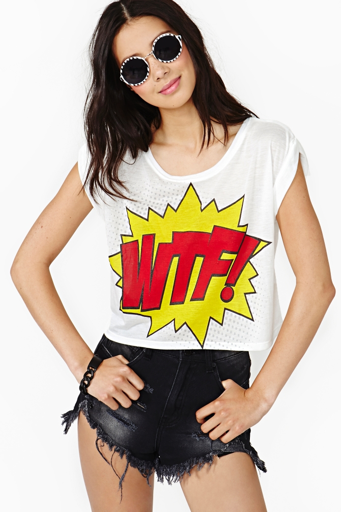 Lyst nasty gal wtf crop tee in white for Wtf is a haim shirt