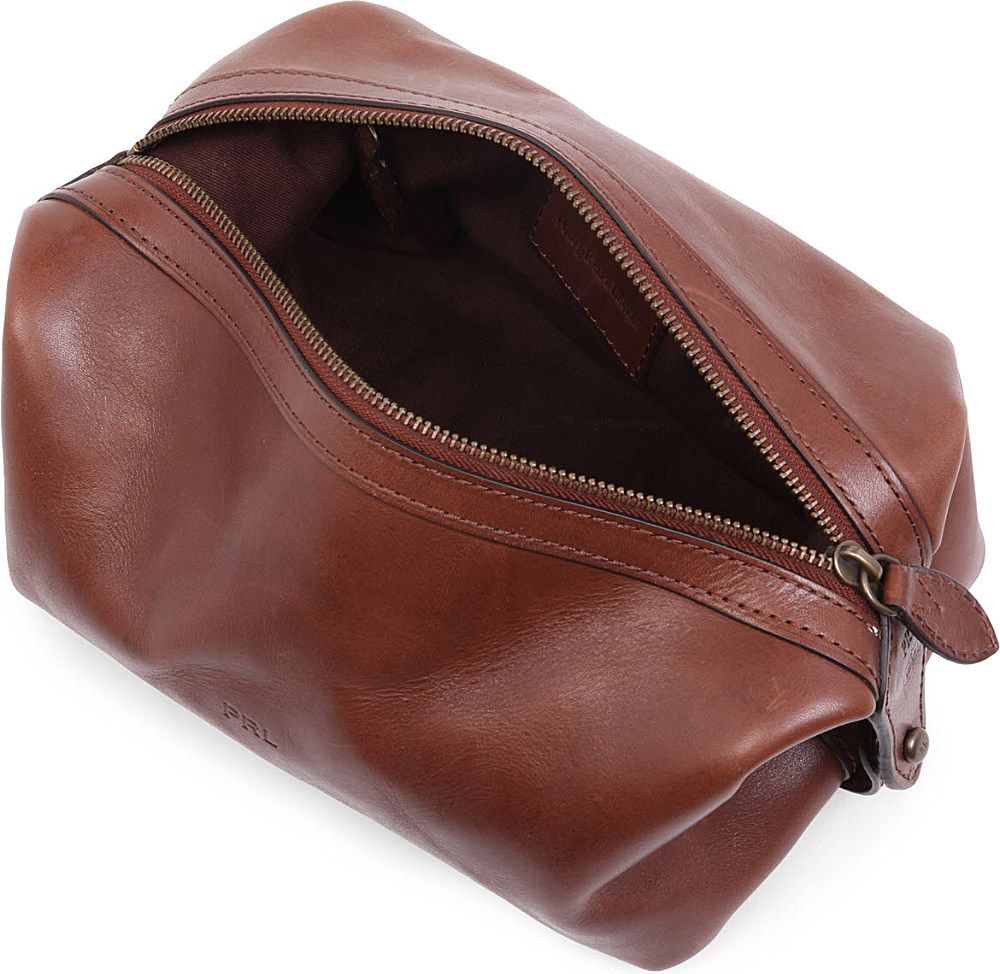 ... promo code for ralph lauren dopp kit leather wash bag in brown for men  lyst e8b9d ... 16ac09b81ca05