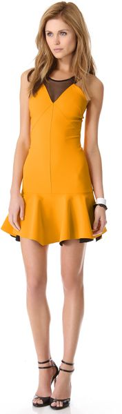 Robert Rodriguez Bonded Techno Flounce Dress - Lyst