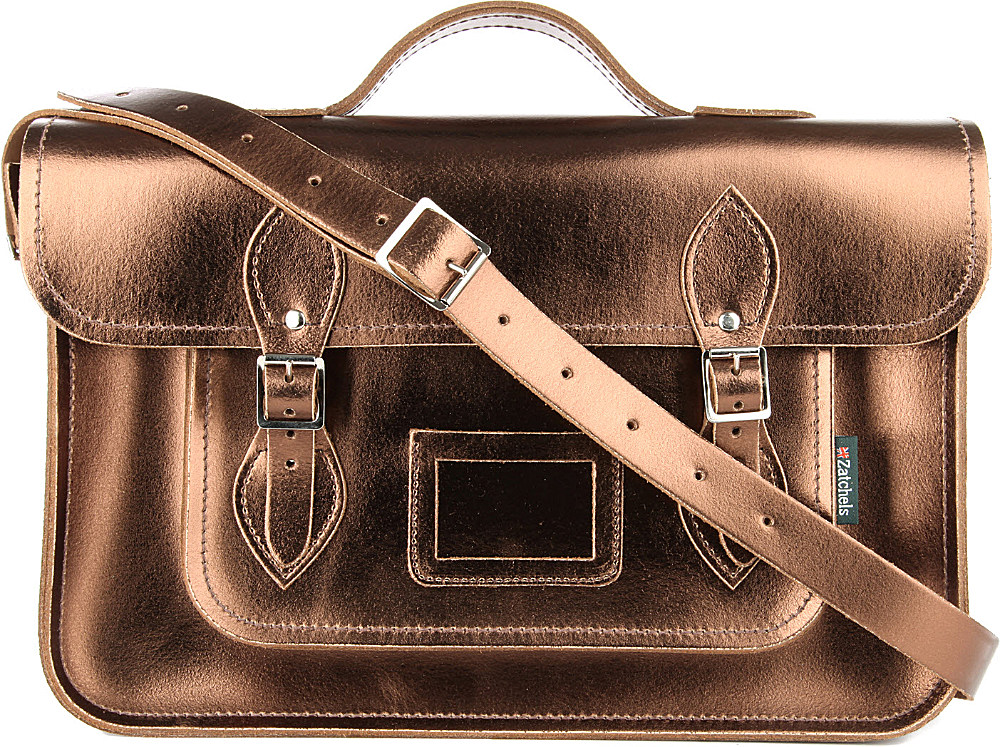f67363910fa1 Zatchels Metallic Leather Satchel in Brown - Lyst