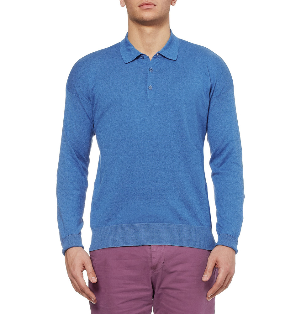 Lyst Ami Knitted Linen And Cottonblend Polo Shirt In