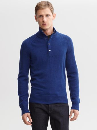 Banana Republic Extra Fine Merino Wool Snap Placket Pullover - Lyst
