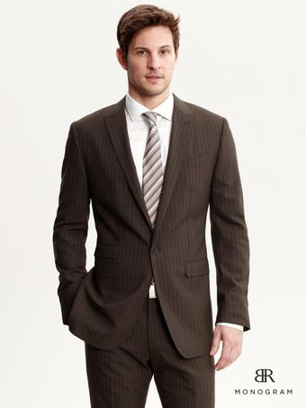 Banana Republic Br Monogram Brown Stripe Italian Wool Suit Blazer - Lyst