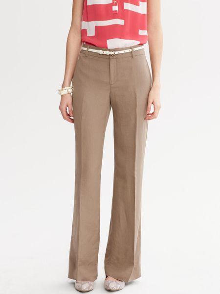 Luxury  New York Womens WideLeg Linen Pants Khaki  All Handbag Fashion