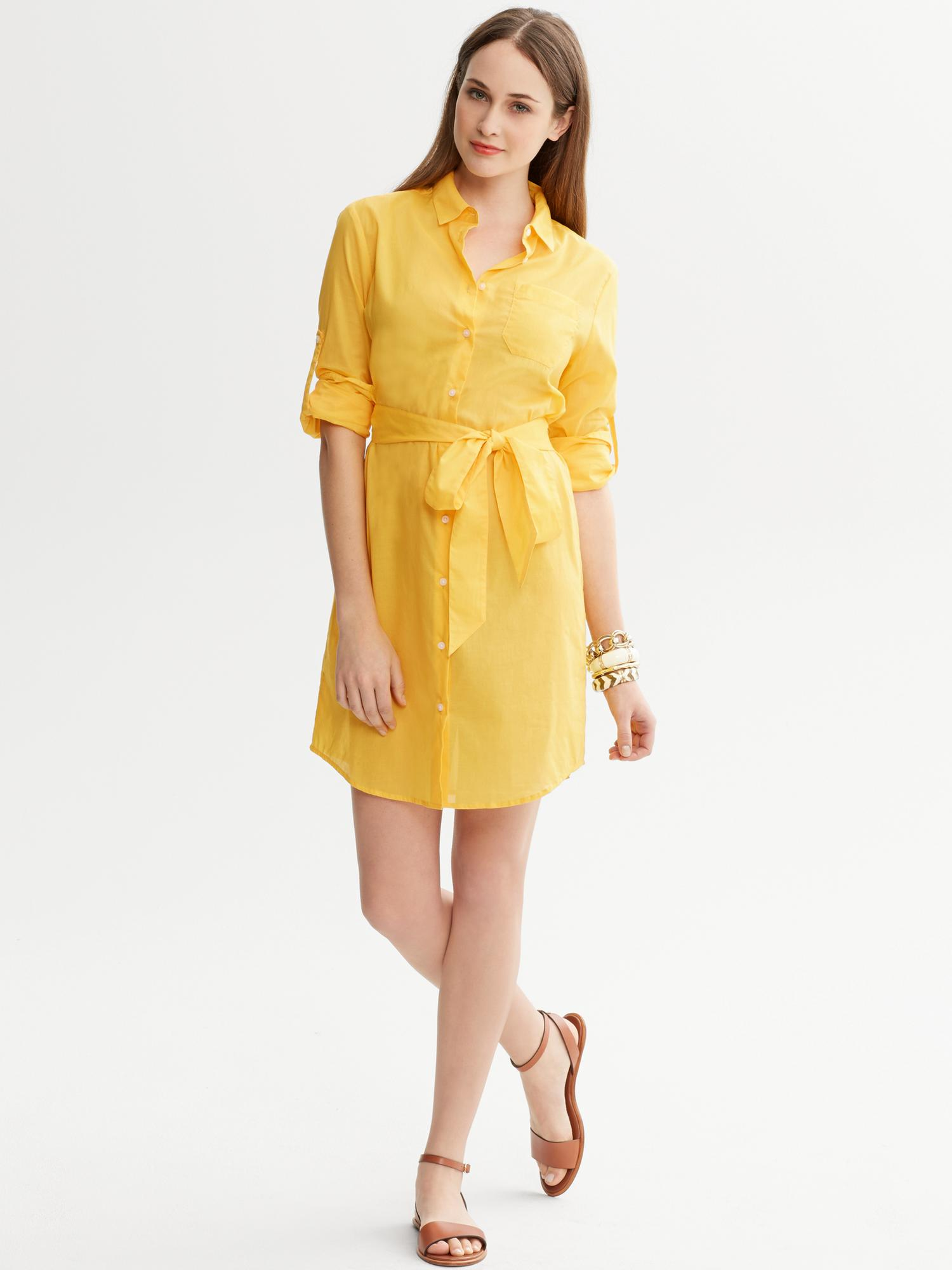 4f9cc13a6c10 Lyst Banana Republic Tie Front Shirtdress In Yellow