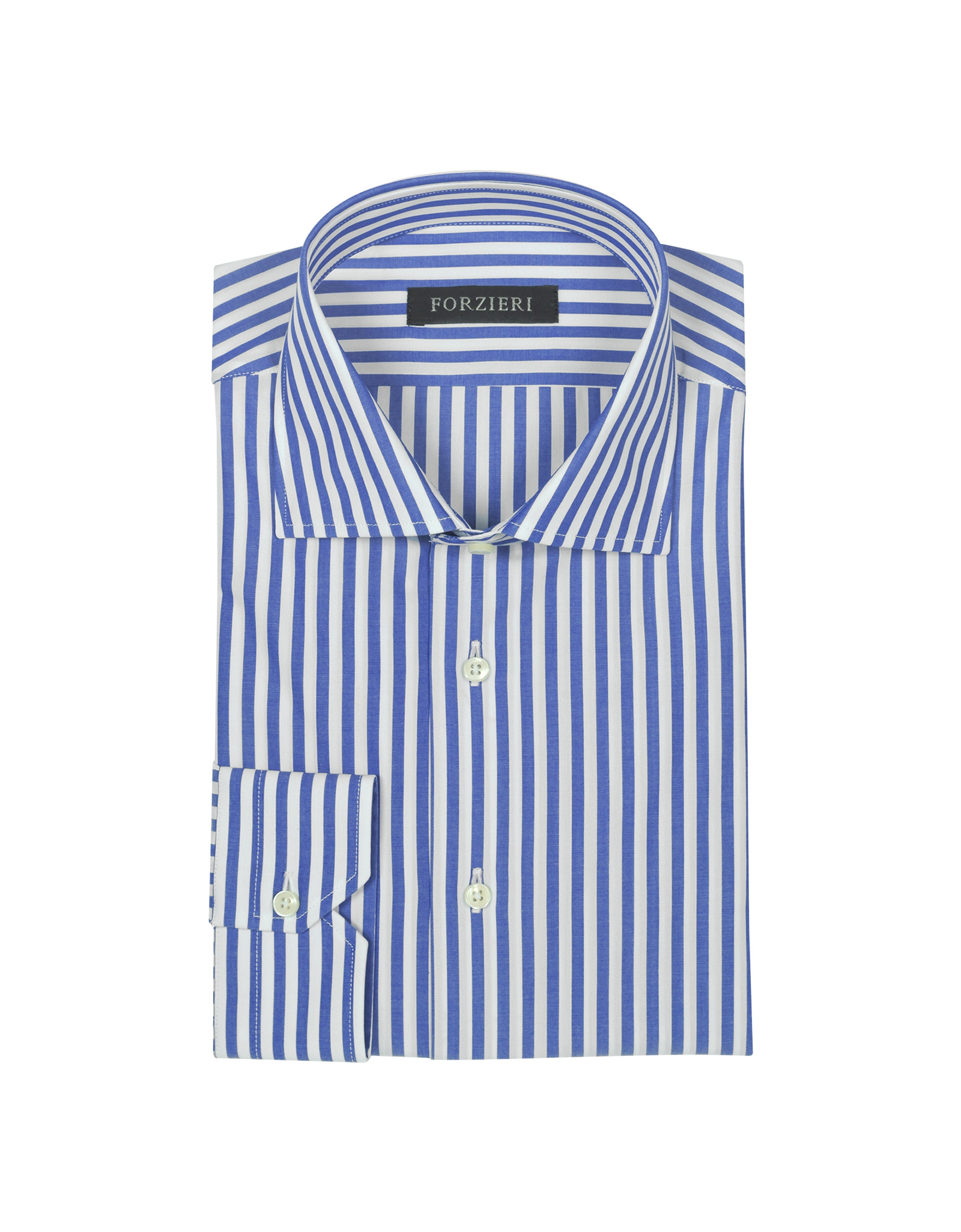 Forzieri Blue And White Striped Cotton Dress Shirt In Blue