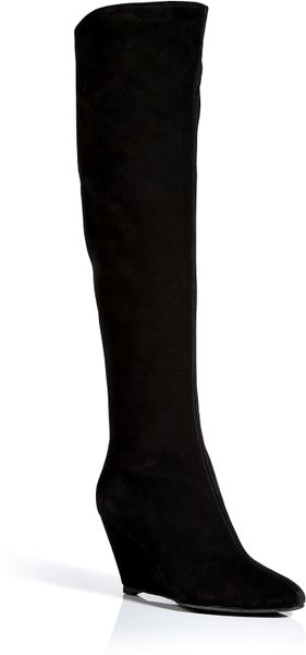 giuseppe zanotti suede knee high wedge boots in black lyst