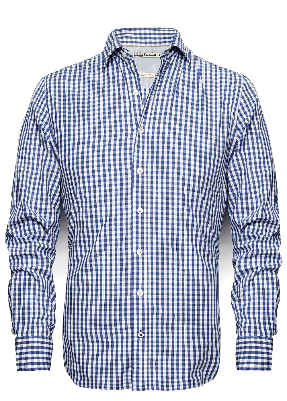 Mango slimfit gingham check shirt in blue for men navy for Mens blue gingham shirt