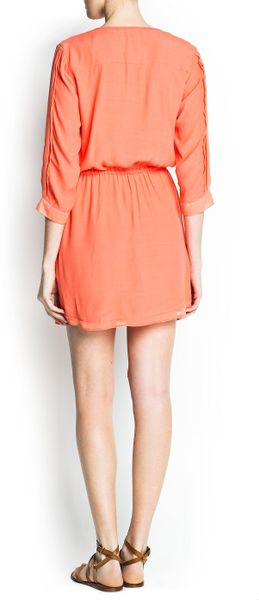 Mango Pintuck Dress In Orange Fucsia Lyst