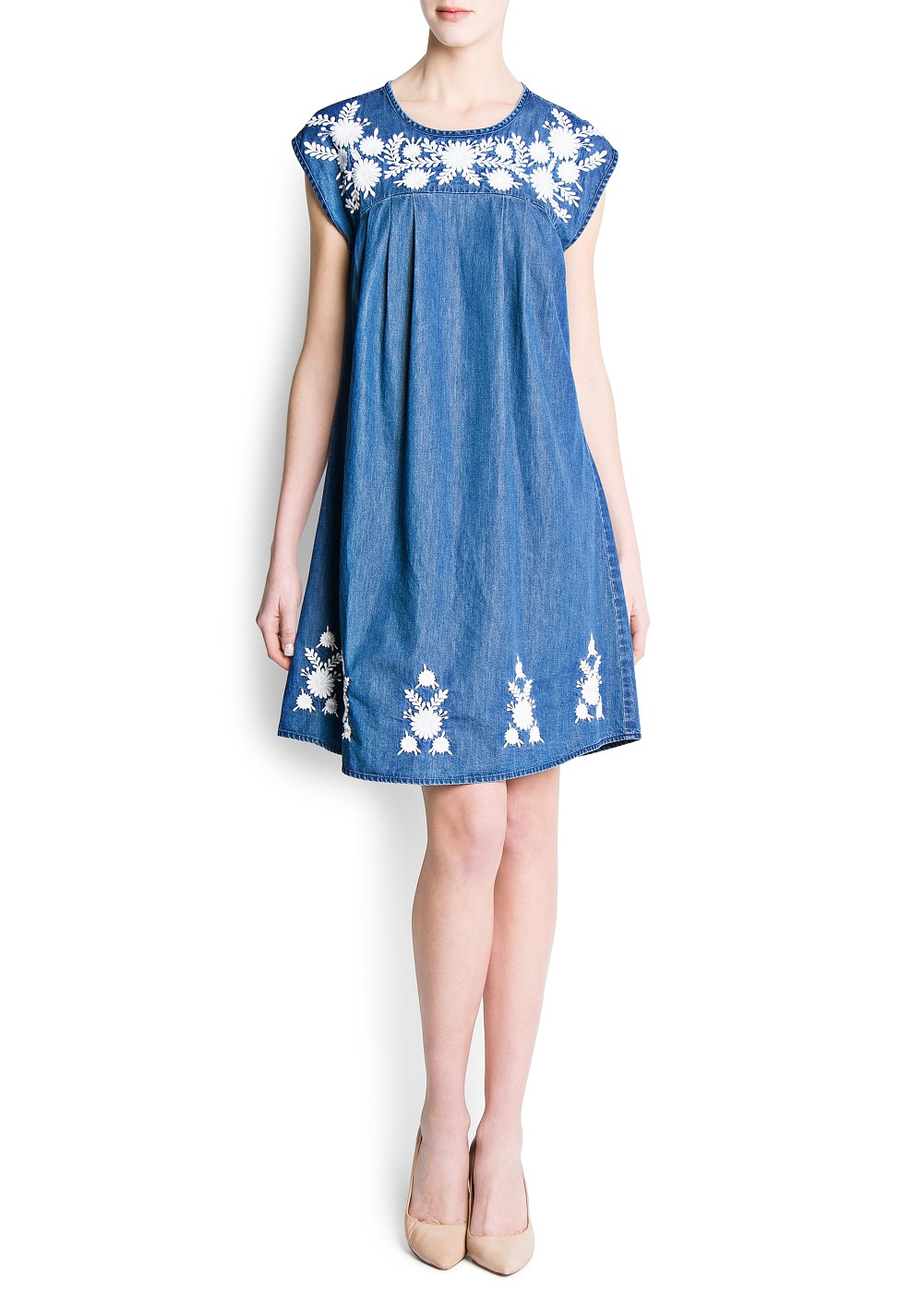 Mango embroidered flowers denim dress in blue medium