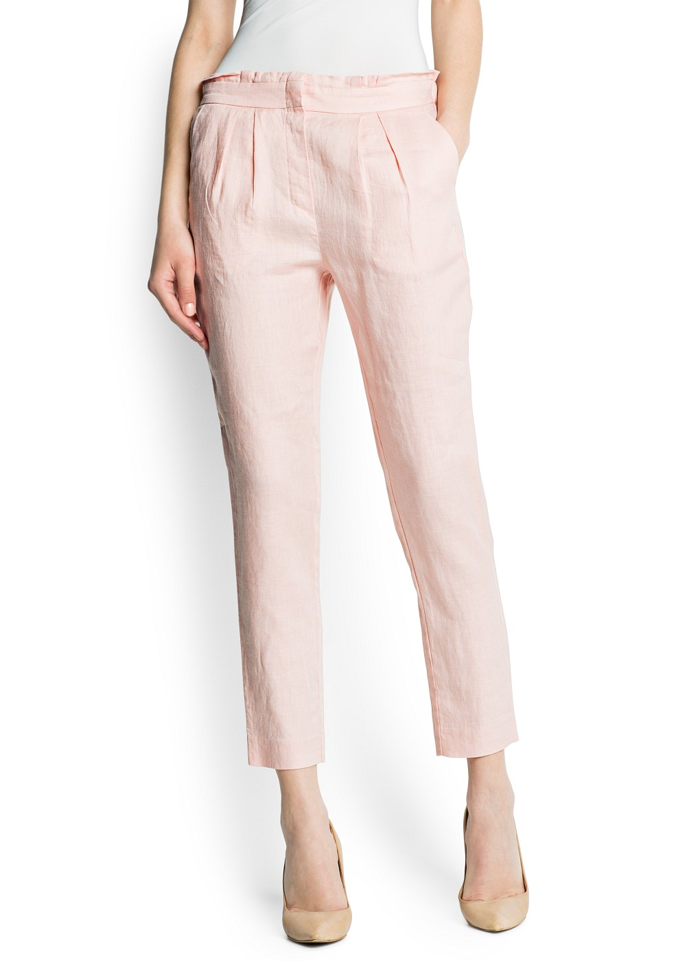Mango Pleated Linen Trousers in Pink | Lyst