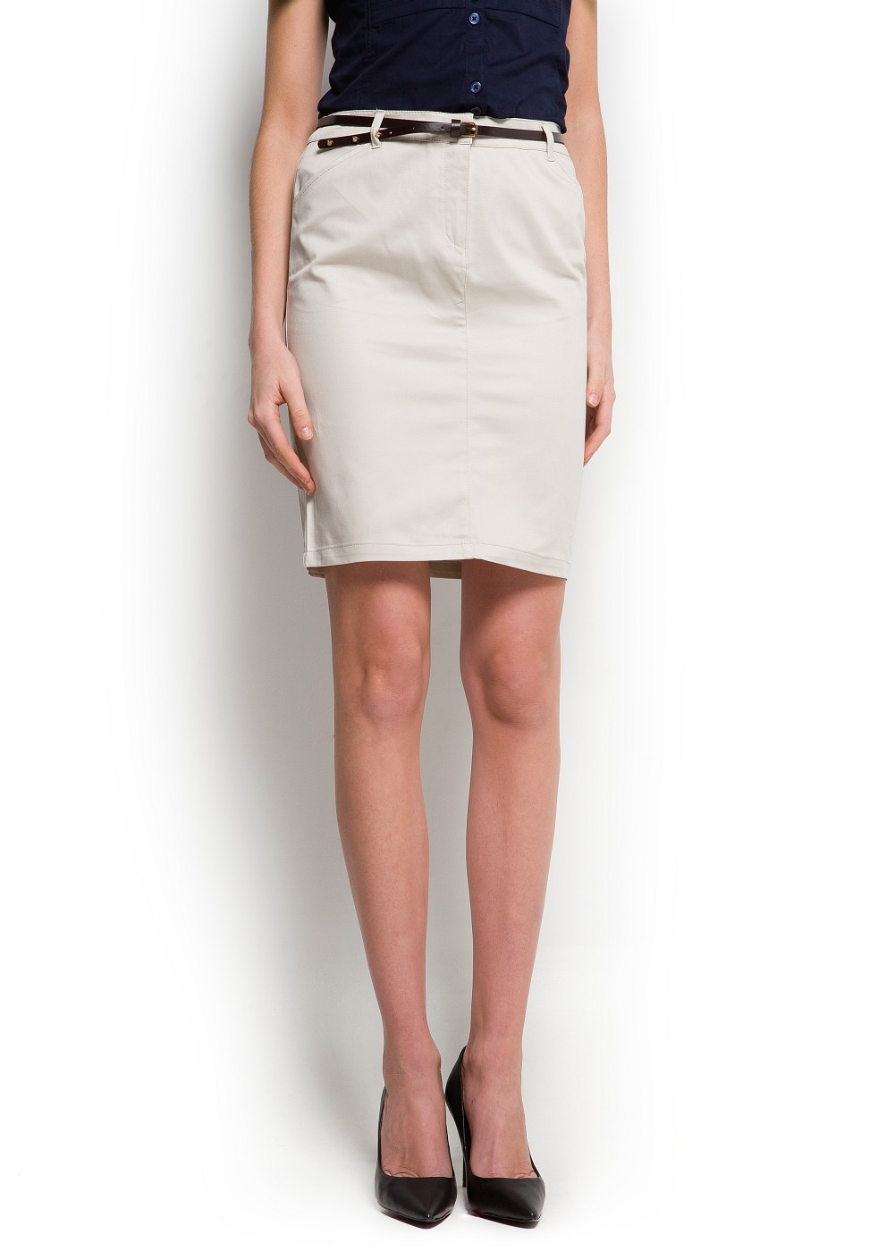 Mango Pencil Skirt with Belt in Natural | Lyst