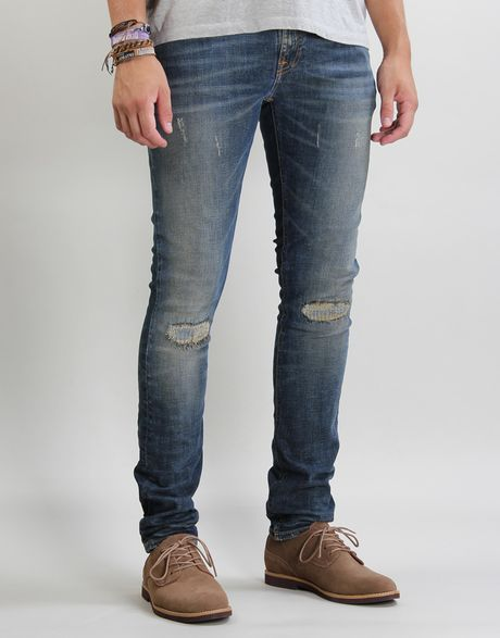 nudie jeans tight long john jeans in blue for men shawn. Black Bedroom Furniture Sets. Home Design Ideas