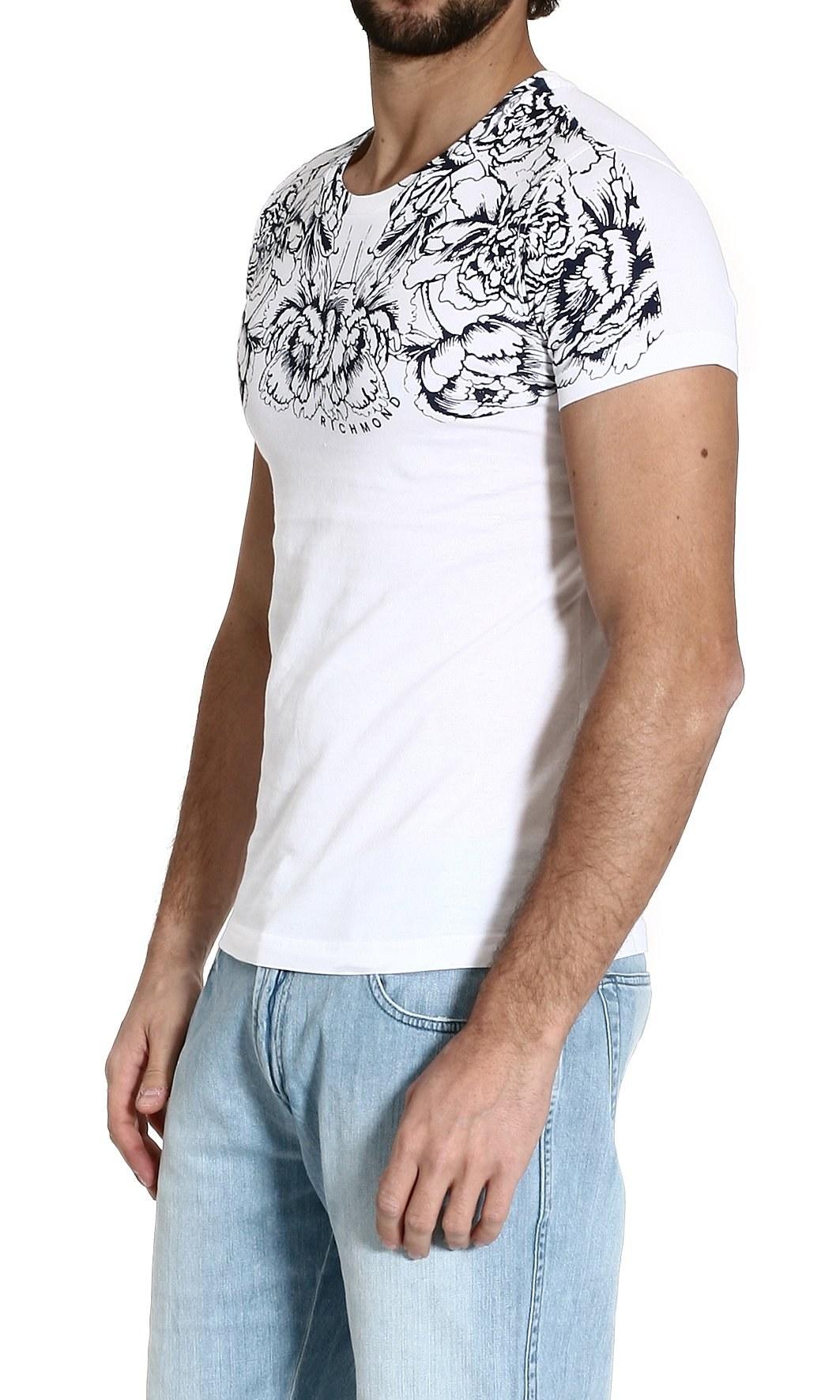Lyst john richmond tshirt shortsleeve roundneck floral for Richmond t shirt printing