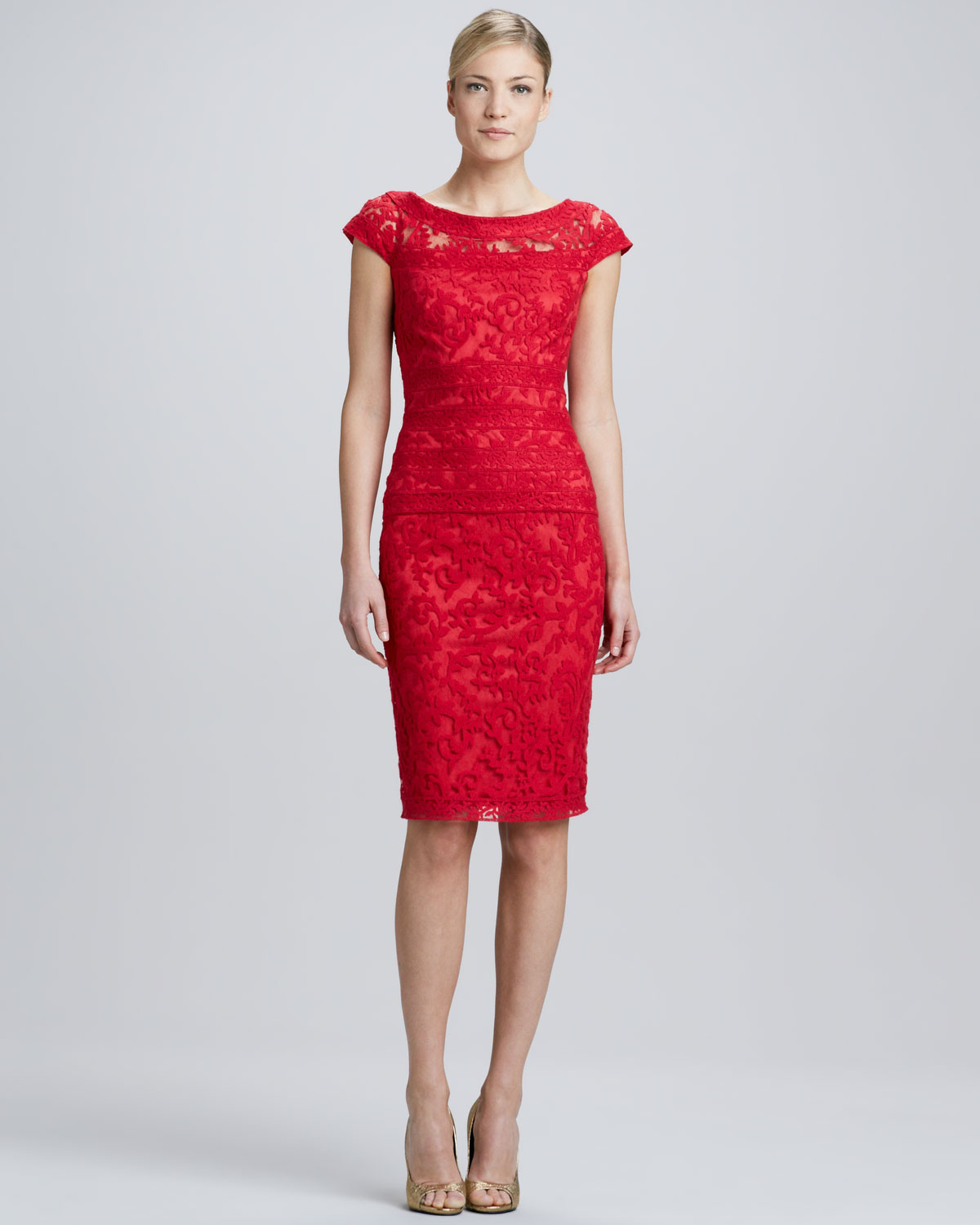 Tadashi shoji Cap Sleeve Lace Overlay Cocktail Dress Rose in Red ...