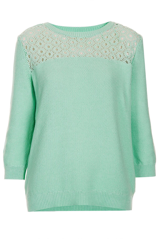 Lace Yoke Knitting Pattern : Topshop Knitted Lace Yoke Top in Green Lyst