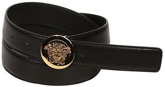 Versace Golden Medusa Buckle Leather Belt - Lyst