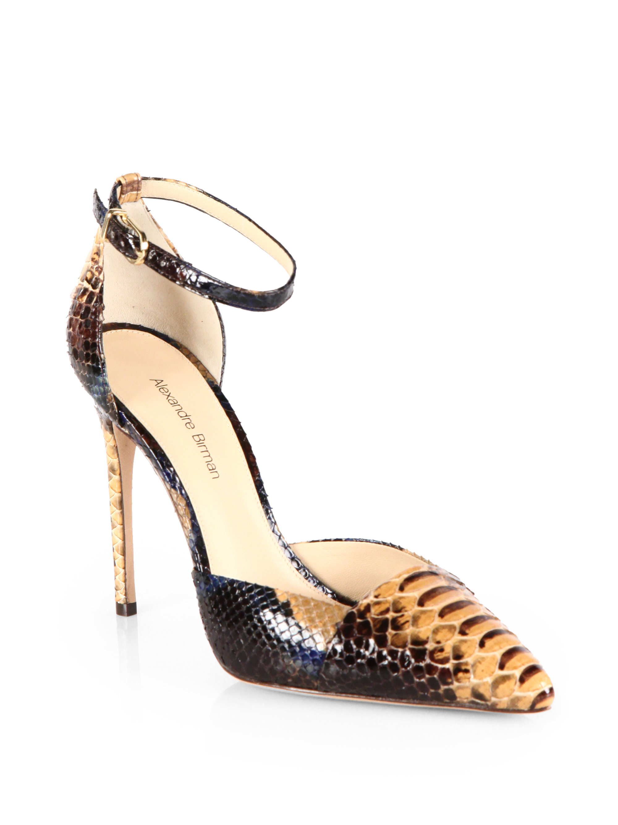 a4196e5e7d4 Lyst - Alexandre Birman Python Ankle Strap Pumps in Brown