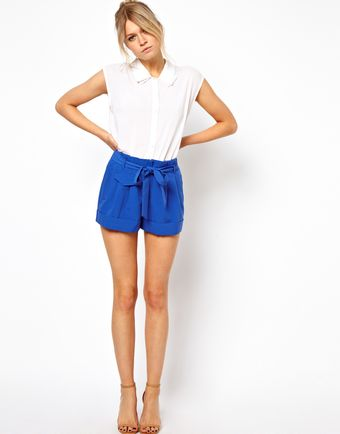 Asos Belted Shorts with Turn Up - Lyst