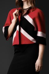 Burberry Chevron Stripe Wool Cashmere Jacket - Lyst
