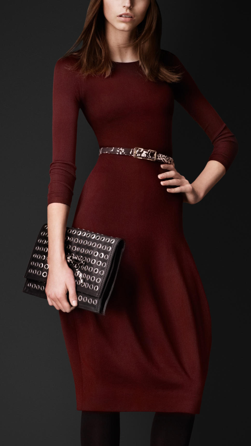 Lyst Burberry Prorsum Sculptural Knitted Silk Dress In Red
