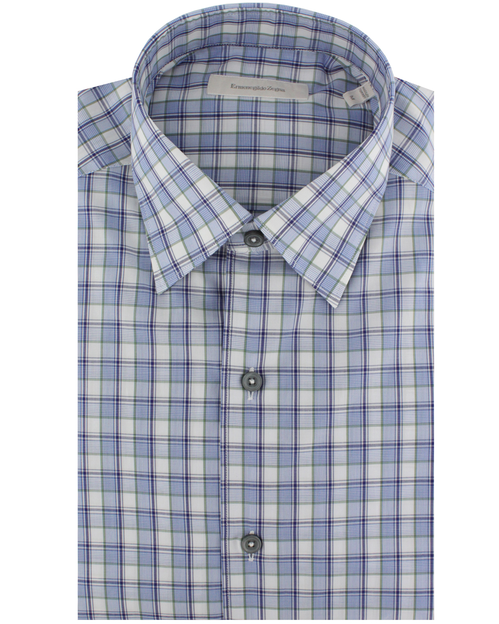 Ermenegildo zegna blue and green plaid dress shirt in blue for Blue and green tartan shirt