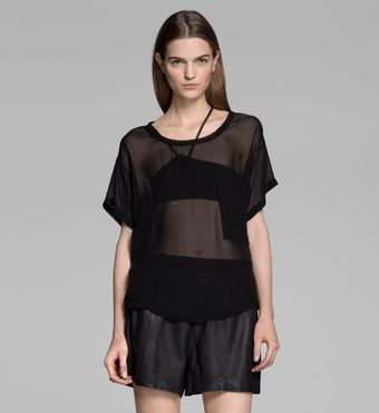 Helmut Lang Ghost Silk Seam Pocket Top - Lyst