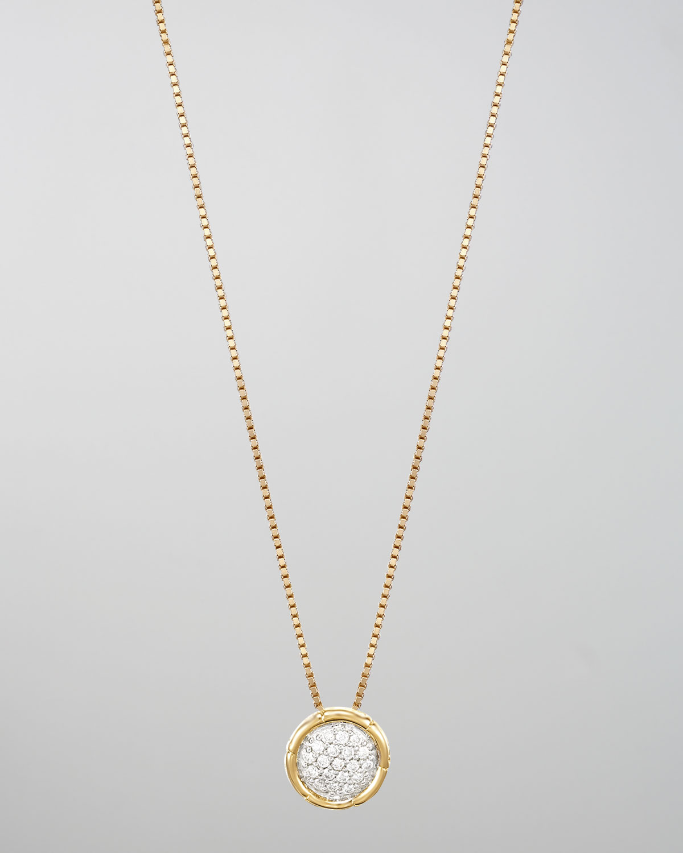 Lyst john hardy bamboo 18k gold pave diamond small round pendant gallery aloadofball Images