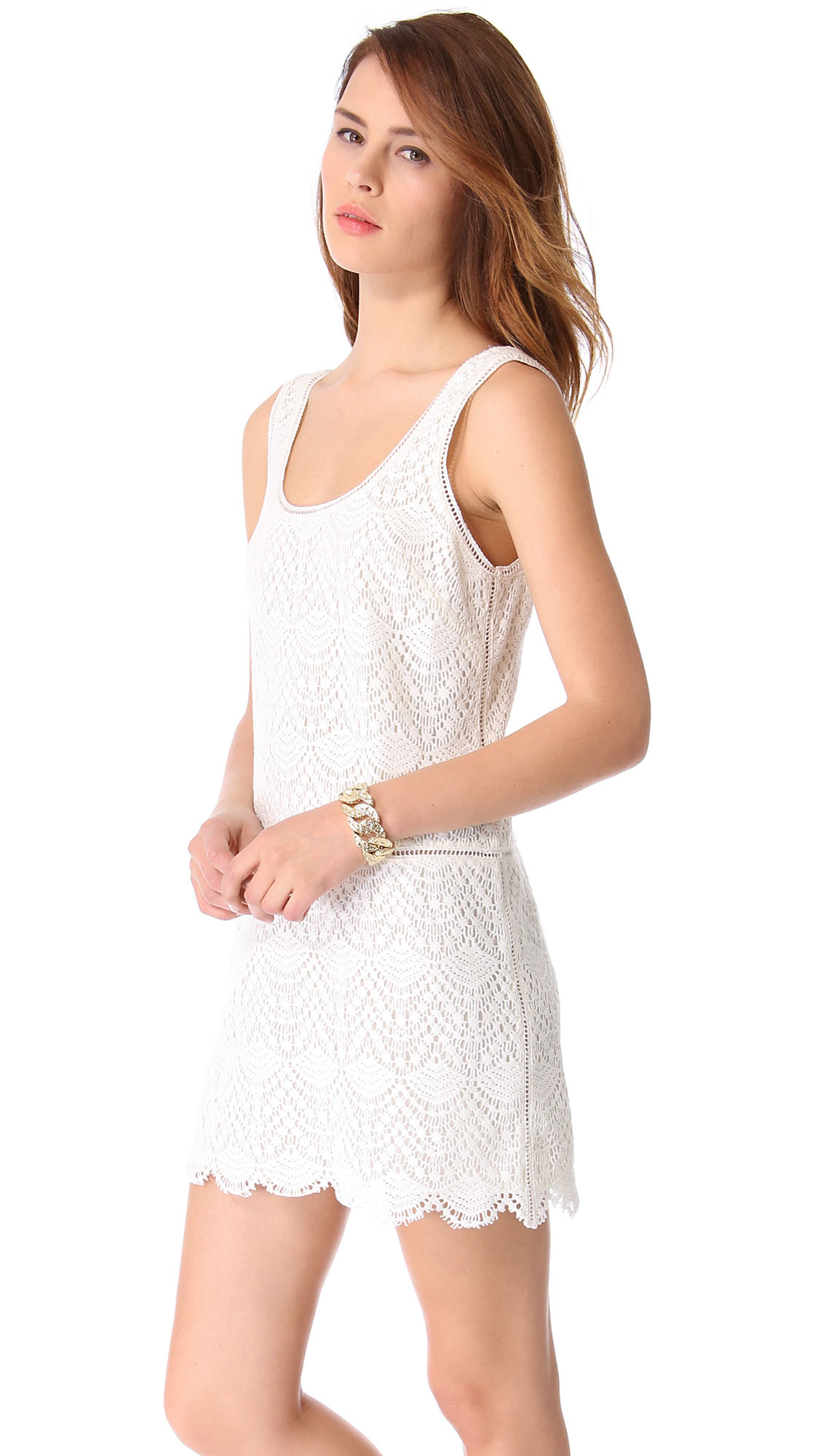 lyst juicy couture crochet lace tank dress in white