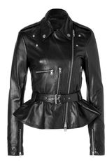 McQ by Alexander McQueen Leather Jacket with Peplum in Black
