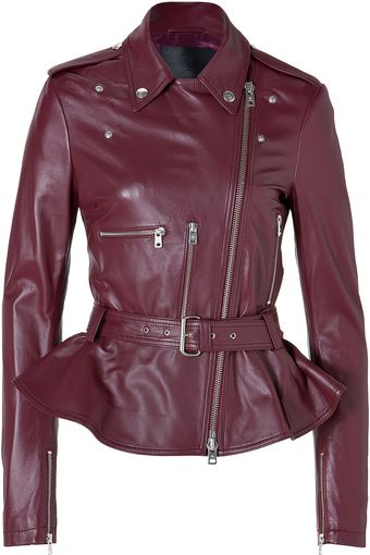 McQ by Alexander McQueen Leather Jacket with Peplum in Oxblood - Lyst