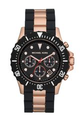 Michael Kors Oversize Twotone Blackrose Golden Stainless Steel Everest Chronograph Watch - Lyst