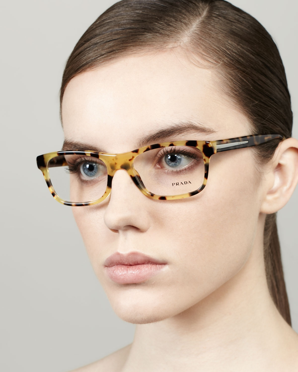 fd4f375b0da ... havana plastic cat eye 52mm eyeglasses c4f73 7cbc9  discount lyst prada  small rectangle fashion glasses in brown 1fc2f 0292b