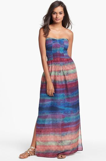 Presley Skye Voila Print Pintucked Maxi Dress - Lyst