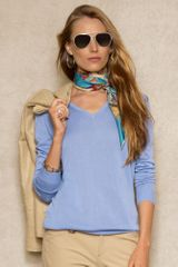 Ralph Lauren Blue Label Silk Blend Vneck Sweater - Lyst