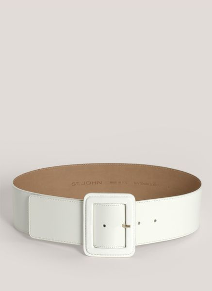 st patentleather wide belt in white lyst