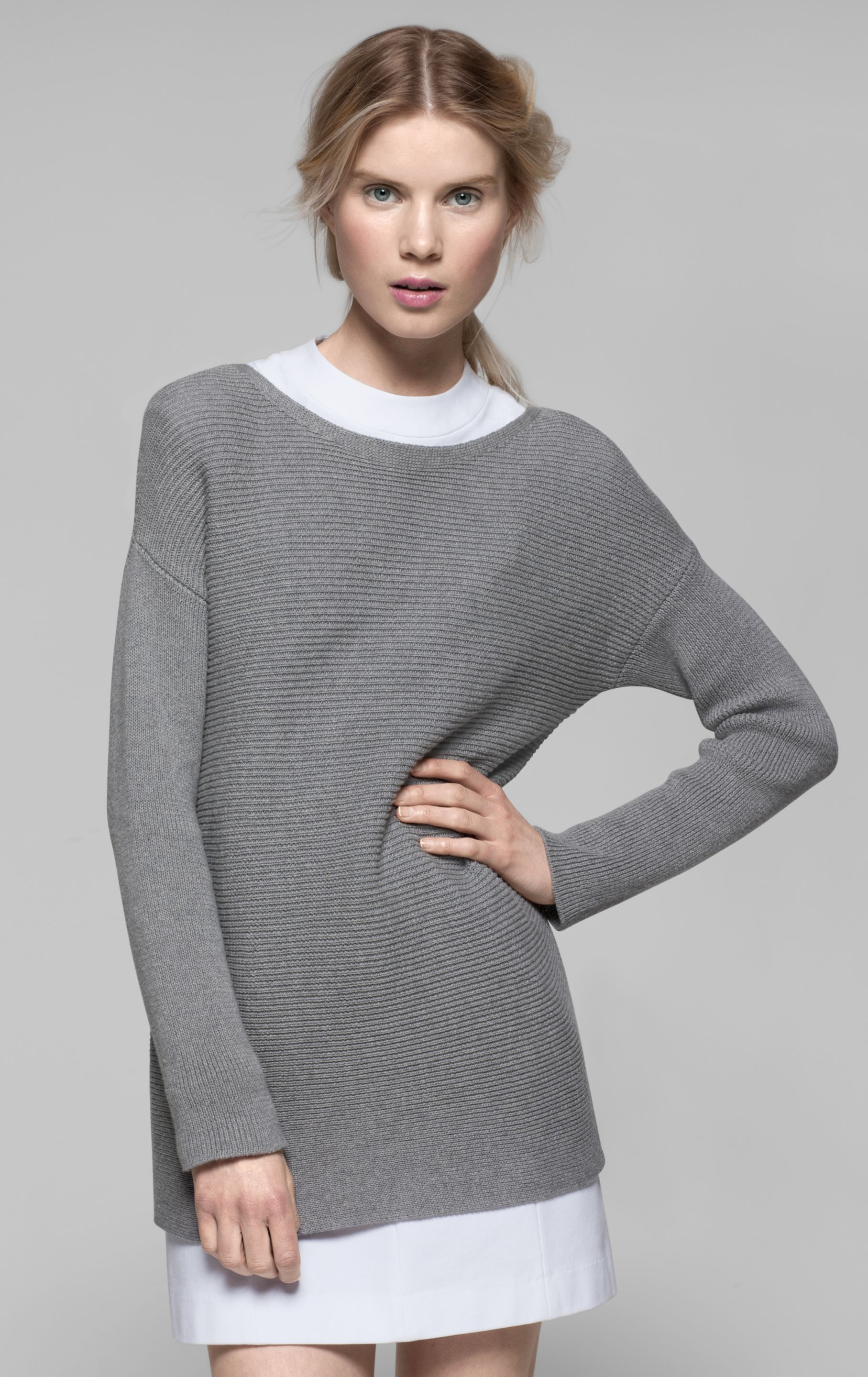 fd535b630411 Lyst - Theory Lorinna Cotton Cashmere Sweater in Gray