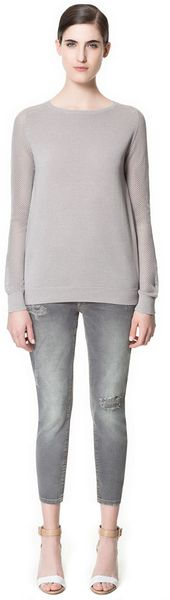 Zara Sweater with Openwork Sleeves - Lyst