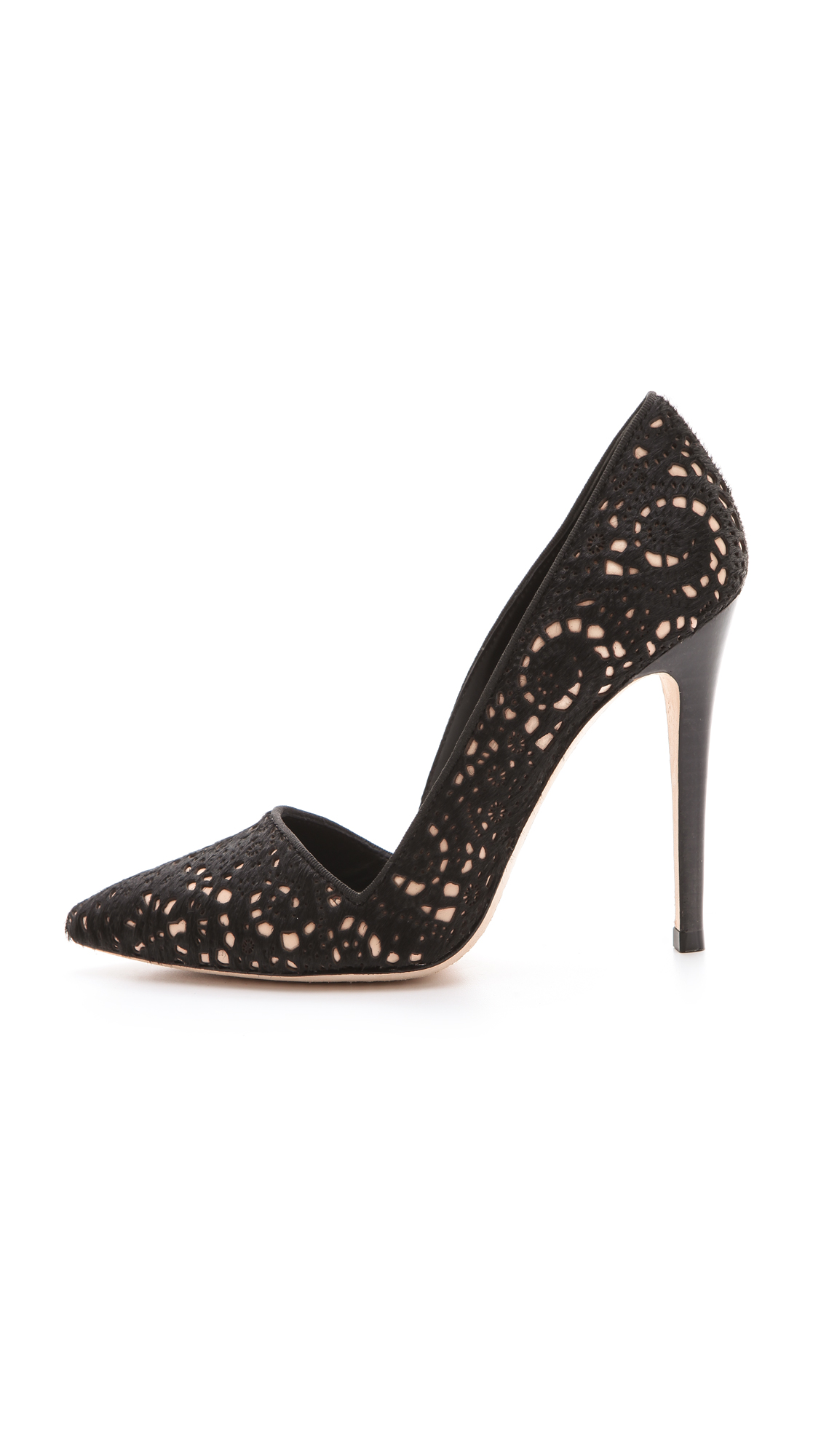 bb8d98af4ad2 Lyst - Alice + Olivia Dina Laser Cut Haircalf Pumps in Black