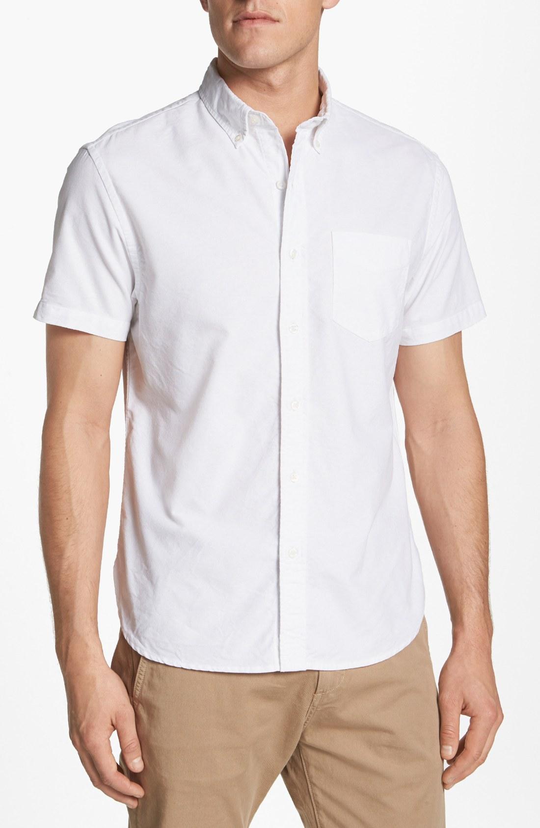 Bonobos short sleeve oxford sport shirt in white for men for White oxford shirt mens