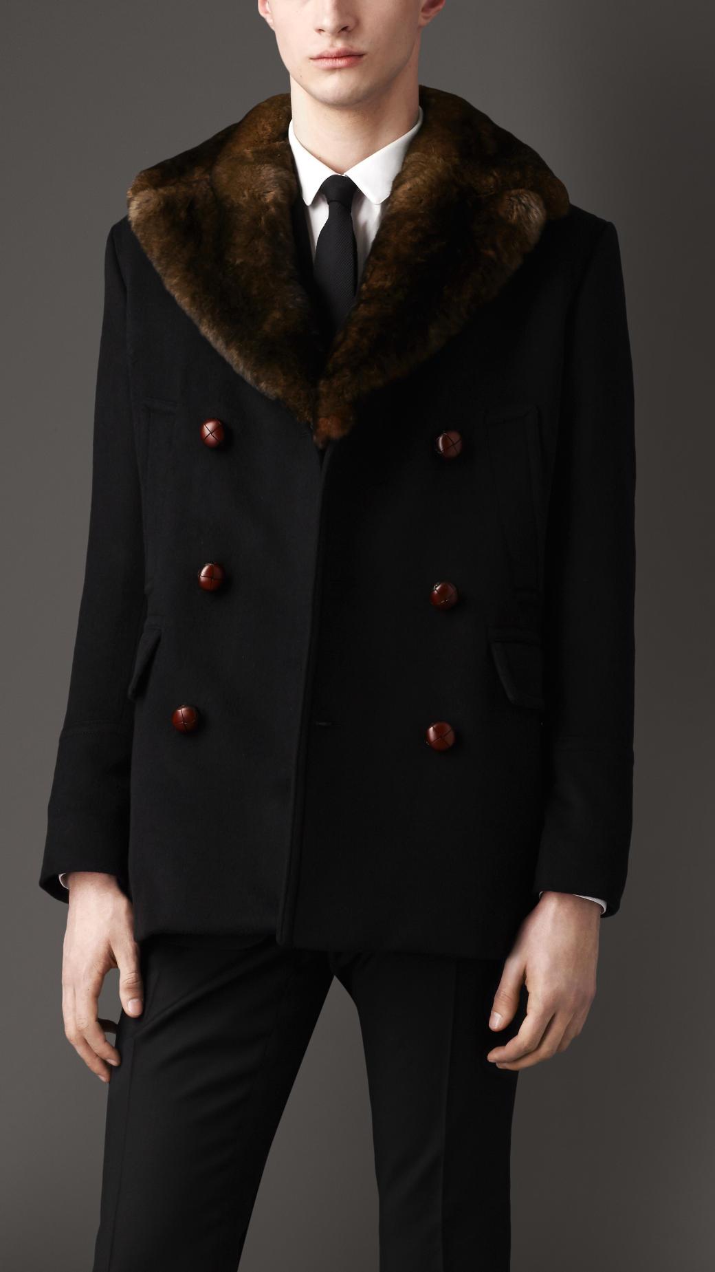 Burberry Fur Collar Pea Coat In Black For Men Lyst