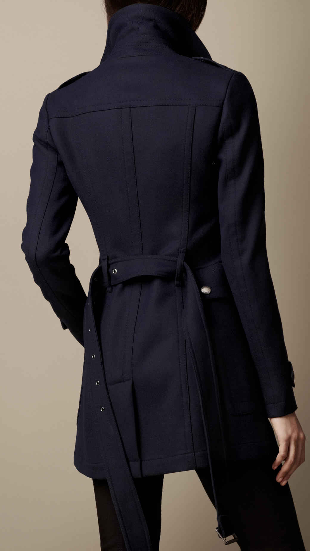 Burberry Short Lightweight Wool Trench Coat in Blue | Lyst