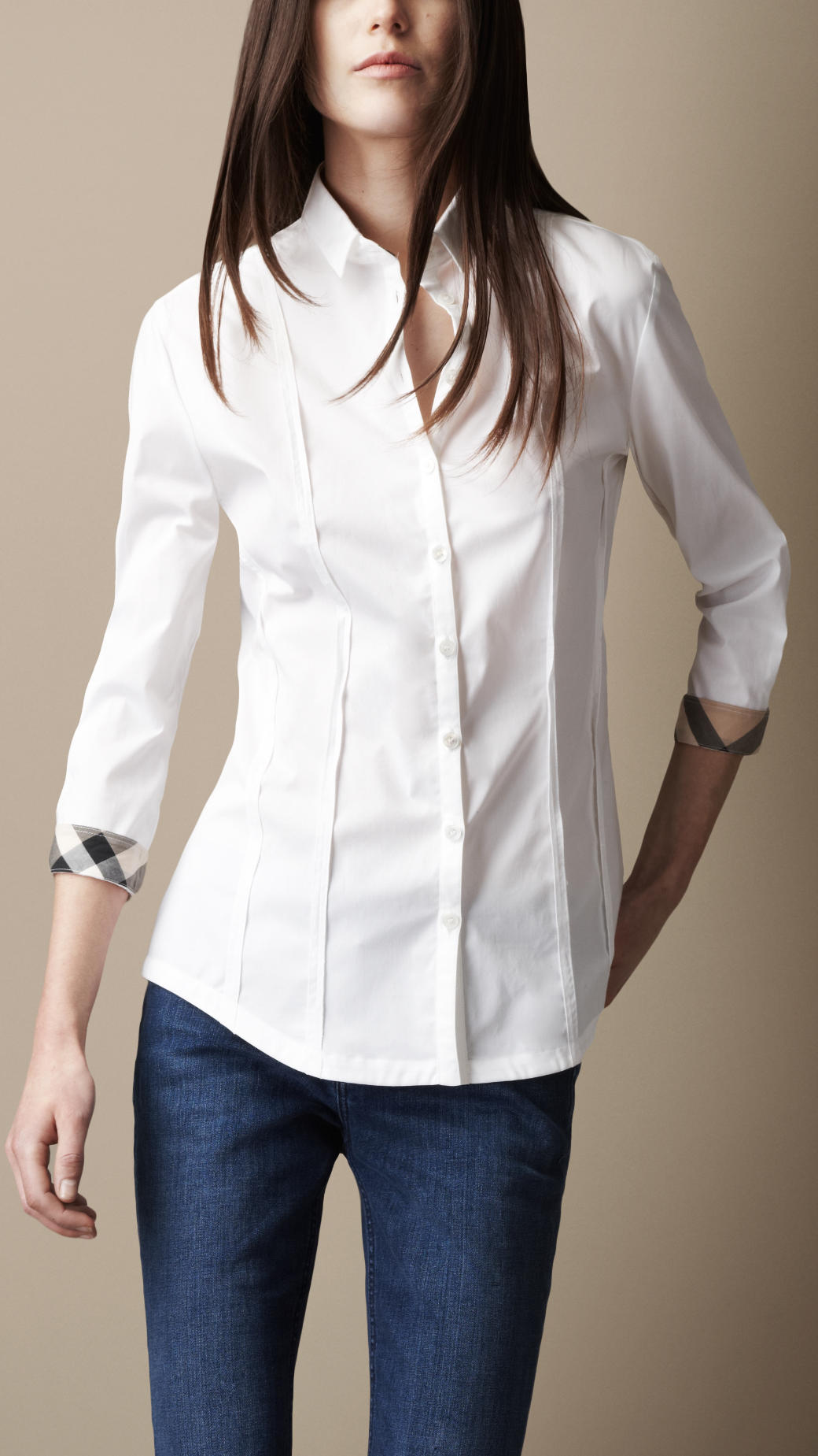 burberry seam detail check cuff shirt in white lyst