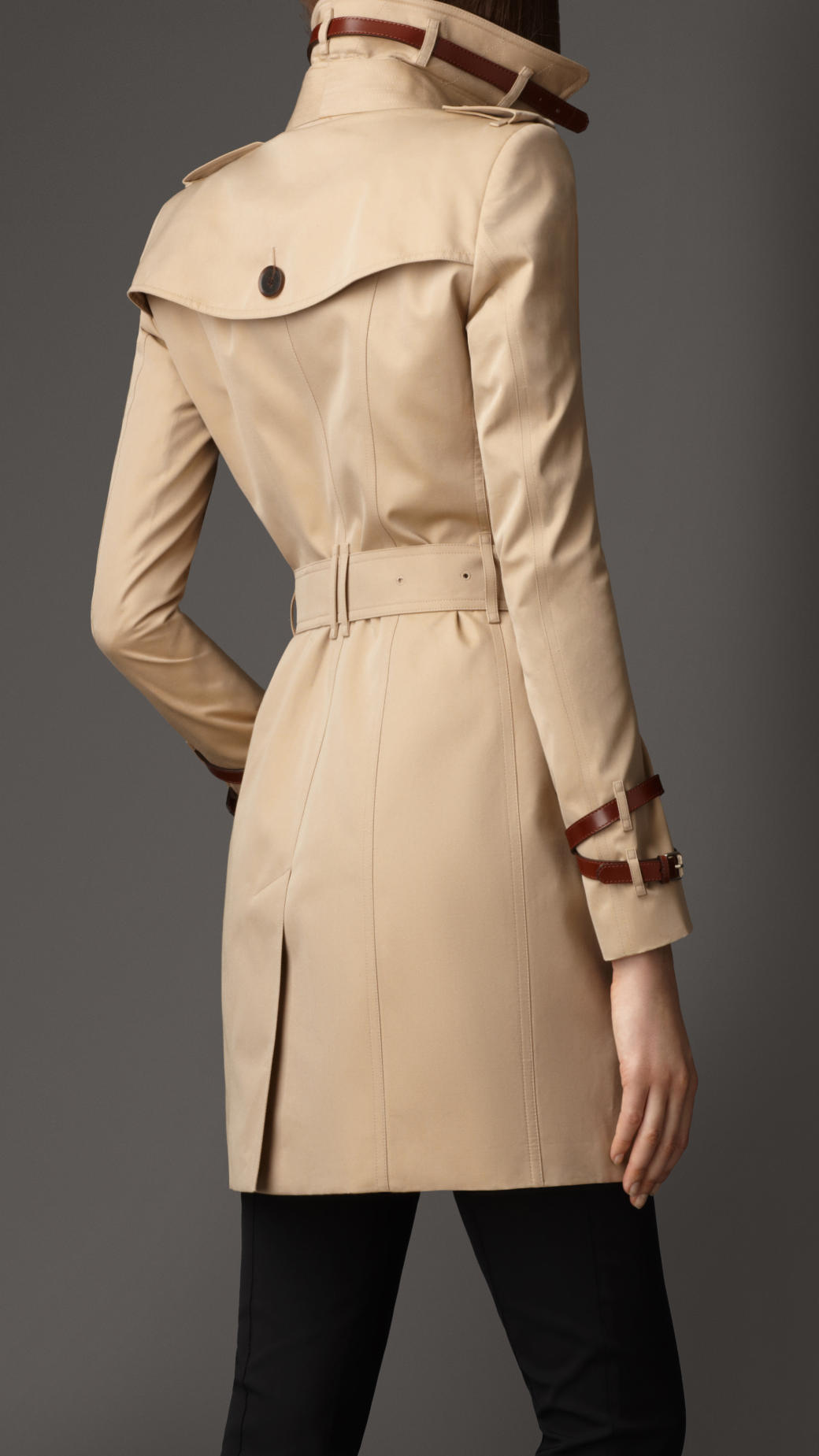 burberry mid length leather detail gabardine trench coat in natural lyst. Black Bedroom Furniture Sets. Home Design Ideas