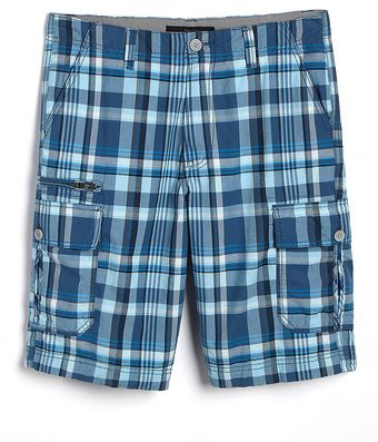 Calvin Klein Infinity Plaid Cotton Cargo Shorts - Lyst
