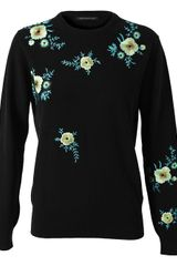 Christopher Kane Floral Embroidered Cashmere Sweater - Lyst