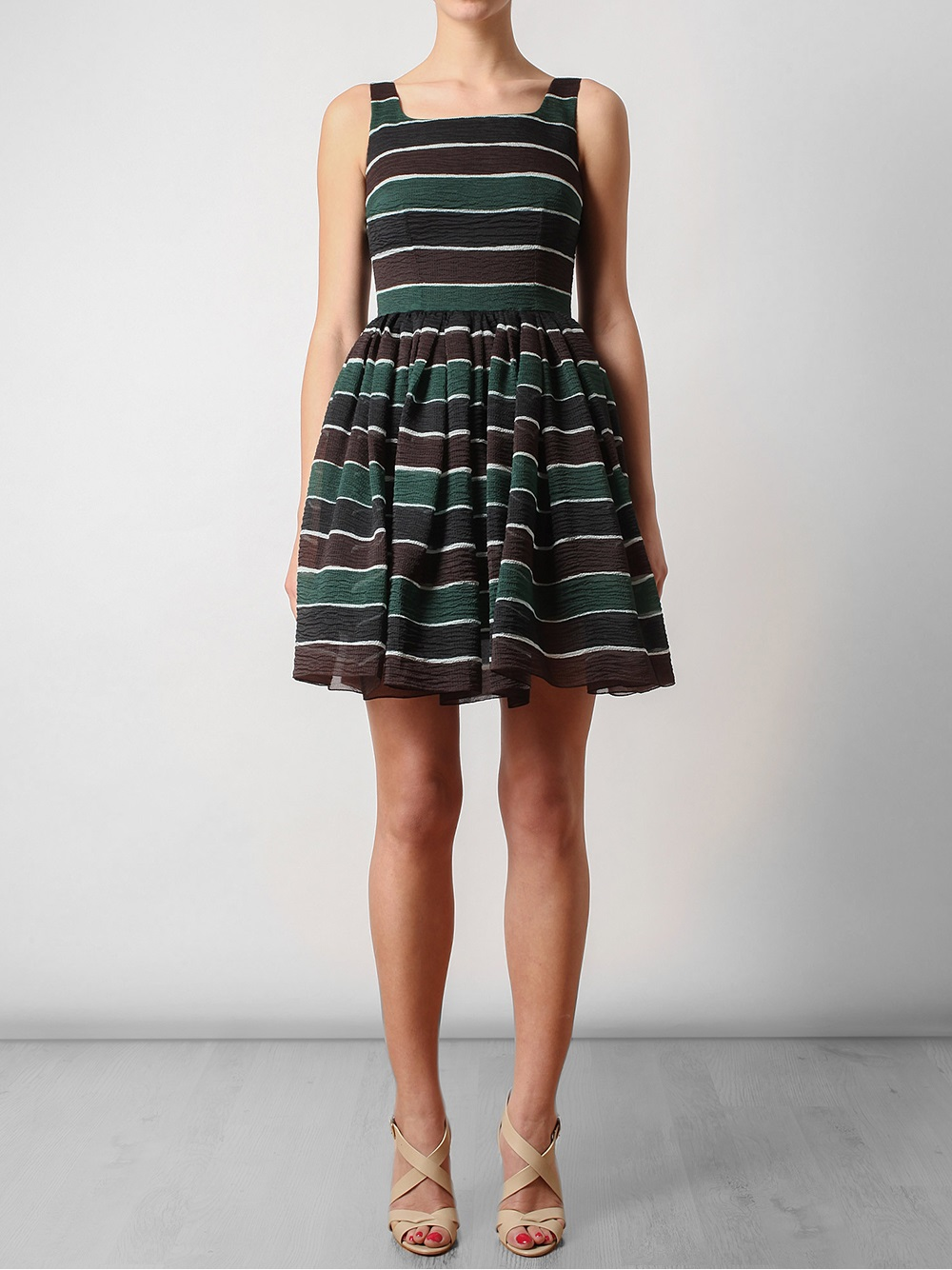 Lyst Dolce Amp Gabbana Striped Silk Organza Dress In Green