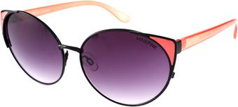 Mink Pink Wingtip Black and Coral Sunglasses - Lyst