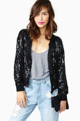 Nasty Gal Dark Disco Sequin Bomber - Lyst