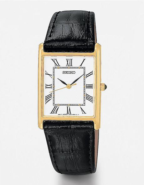 seiko rectangular black leather in gold for
